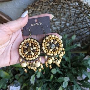 NWT Chico's Wood Beaded Earrings Boho Mandala